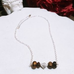 Nwt 925 Sterling Tigers Eye Celtic Bar Necklaces